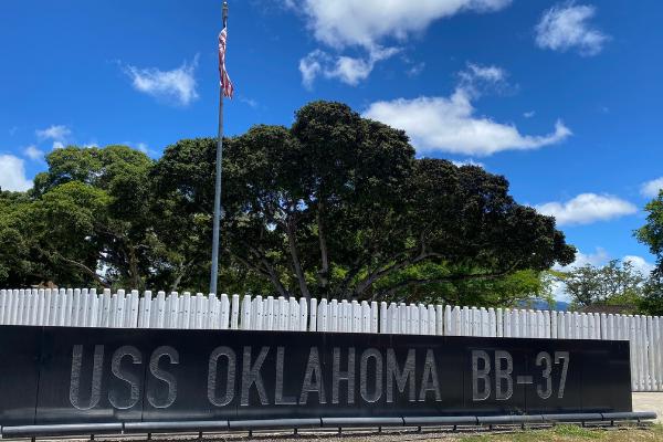 The USS Oklahoma Memorial on Ford Island.